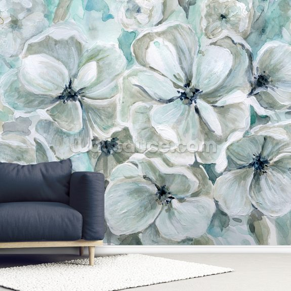 Teal Harmony wall mural room setting