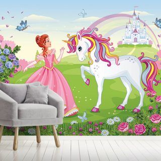 Beautiful Princess and White Unicorn