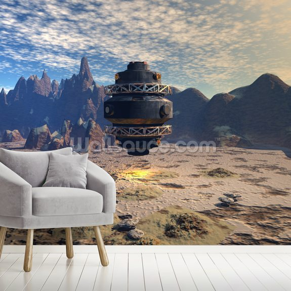 Alien UFO Landing mural wallpaper room setting