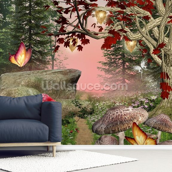 Enchanted Nature Pathway mural wallpaper room setting
