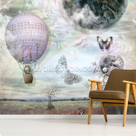 Balloon and Butterflies wallpaper mural room setting