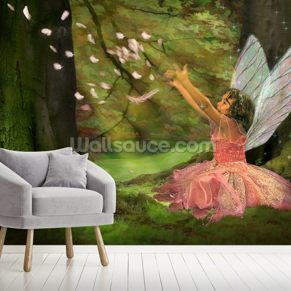 Feather Fairy wall mural room setting