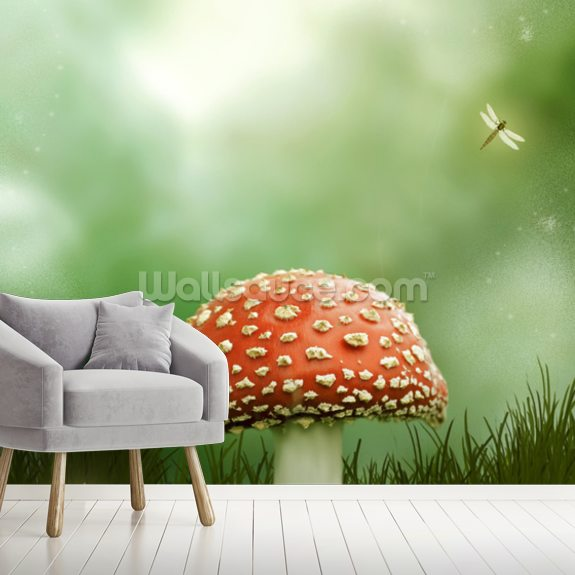 Magic Toadstool wallpaper mural room setting