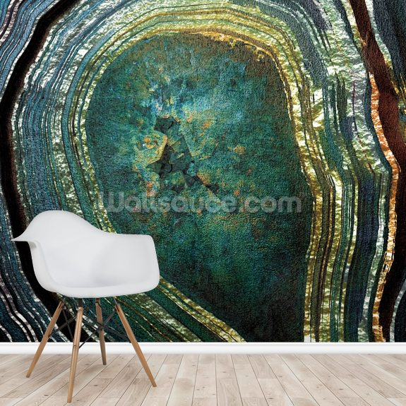 Emerald Gold Agate mural wallpaper room setting