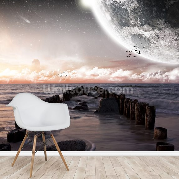 Planet Landscape wall mural room setting