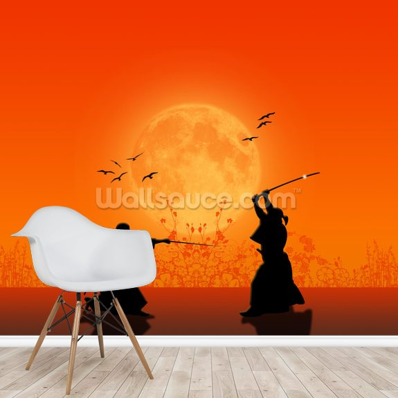 Samurai Silhouette wallpaper mural room setting