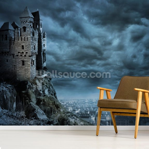 Castle wall mural room setting
