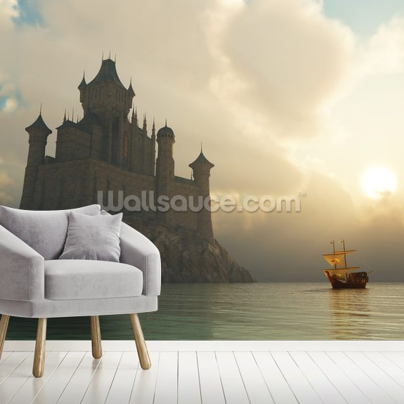 Fantasy Castle at Sunset mural wallpaper room setting