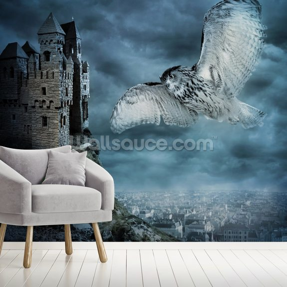Flying Owl Bird mural wallpaper room setting