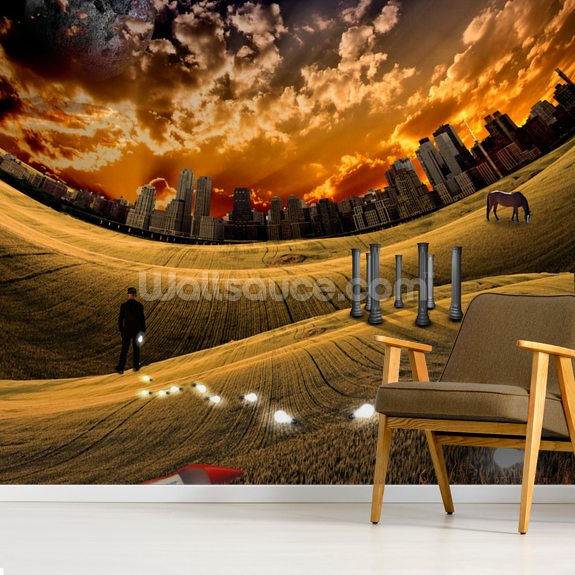 Trail of Light Bulbs wallpaper mural room setting