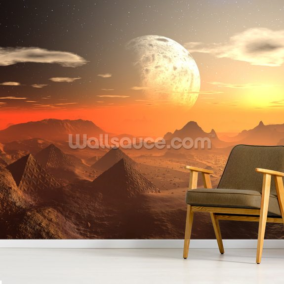 Valley of the Alien Kings mural wallpaper room setting