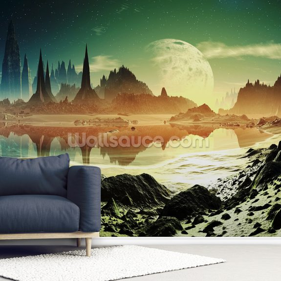 Alien City Ruins Beside the Lake wall mural room setting