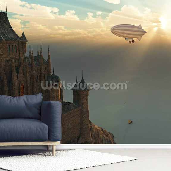 Fantasy Castle and Flying Zeppelin mural wallpaper room setting