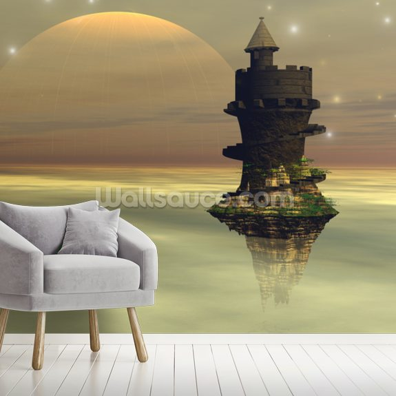 Sky Castle wall mural room setting