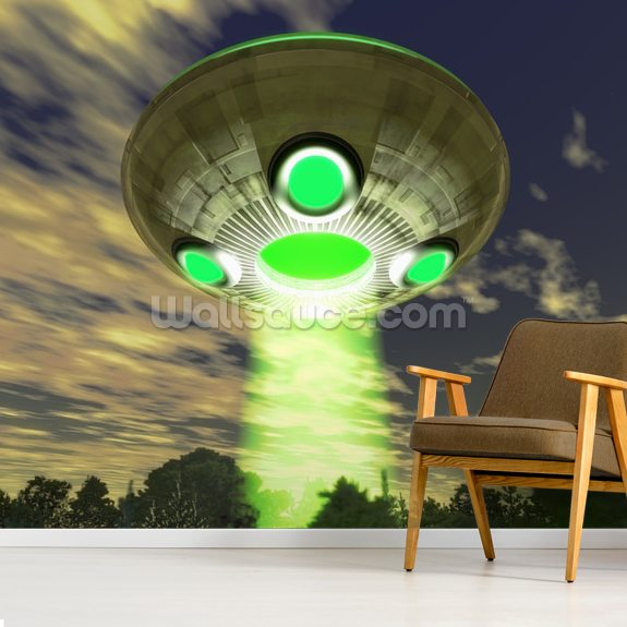 UFO Over Trees wallpaper mural room setting