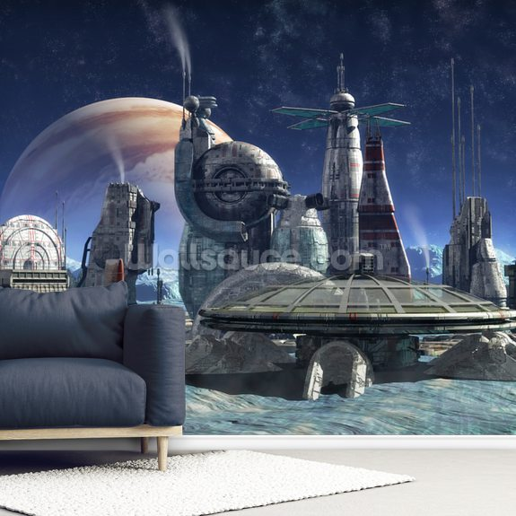 Jupiter Moon Colony wall mural room setting