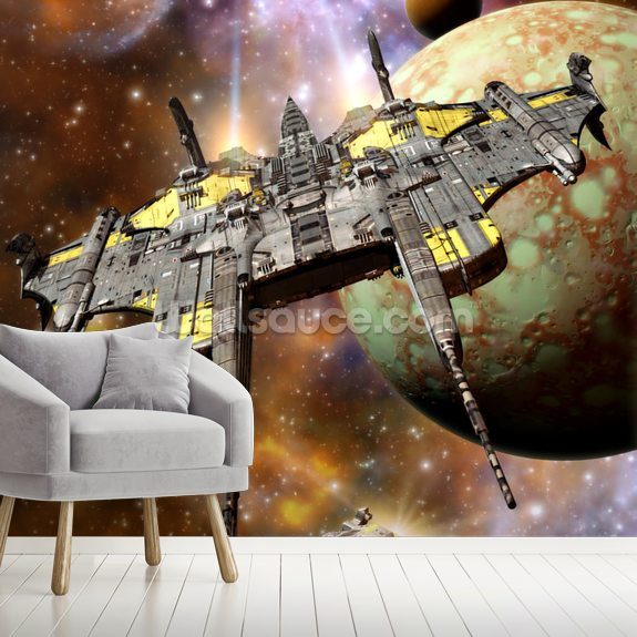 Spaceship and Space Pirates wallpaper mural room setting