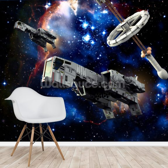 Spaceships at War wallpaper mural room setting