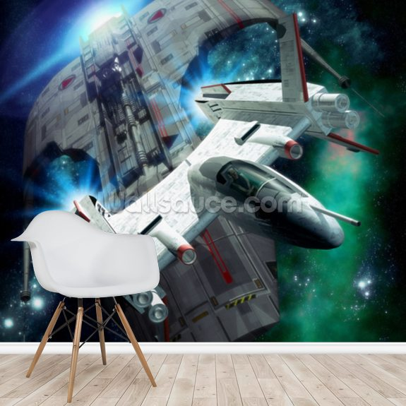 Spaceship Chase mural wallpaper room setting