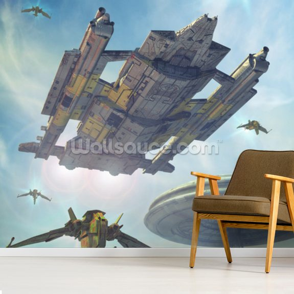 Spaceship and Futuristic City wallpaper mural room setting