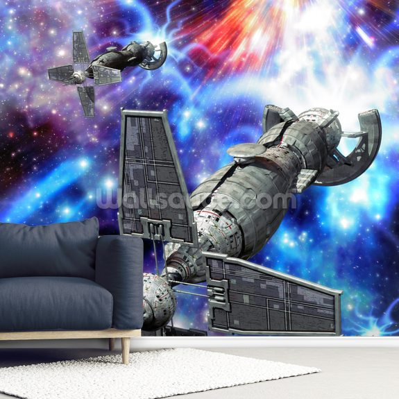 Spaceship and Supernova wallpaper mural room setting