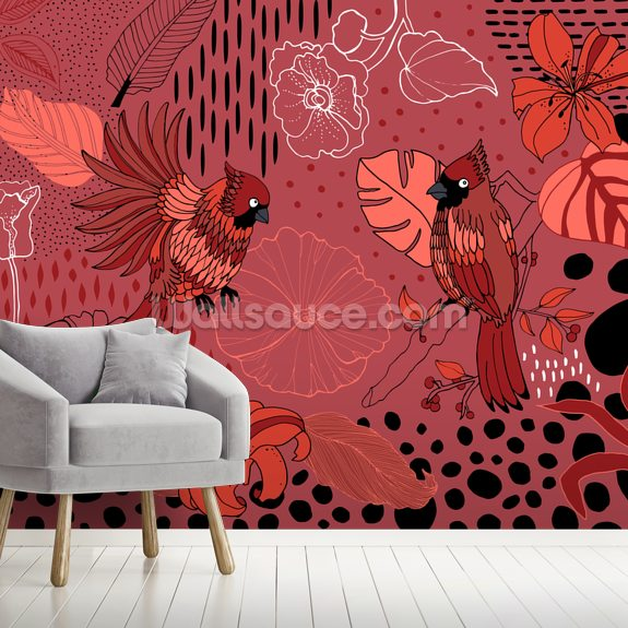 Soul Birds Cardinal wallpaper mural room setting