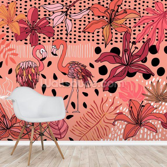 Soul Birds Flamingo Mural By Yani Mengoni Wallsauce Uk