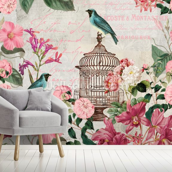 Birdcage wall mural room setting