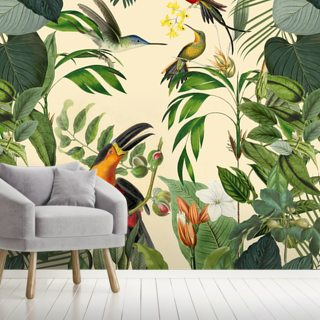 Tropical Birds in a Jungle