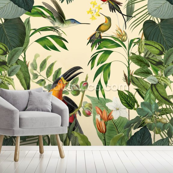 Tropical Birds in a Jungle wallpaper mural room setting