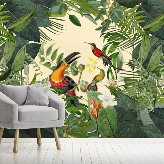 Toucans in the Jungle mural wallpaper room setting