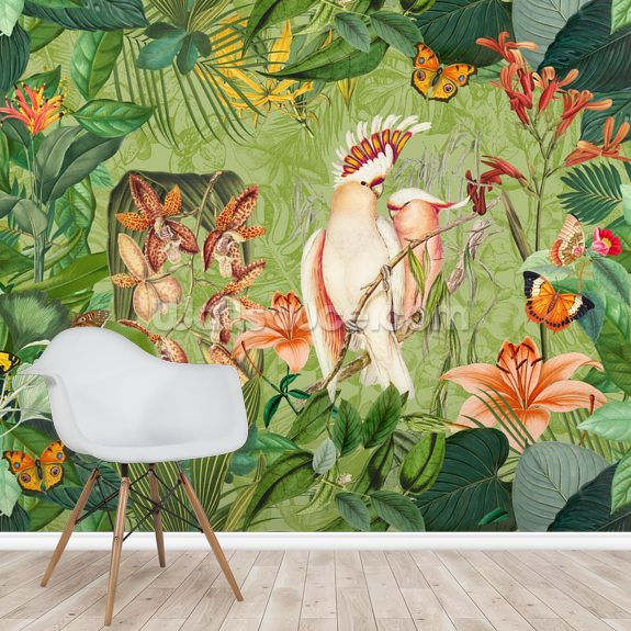 Cockatoos and Butterflies wall mural room setting