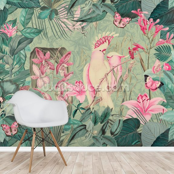 Pink Cockatoos wallpaper mural room setting