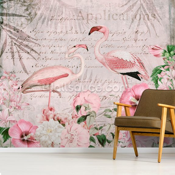 Pink Flamingo Flowers wallpaper mural room setting