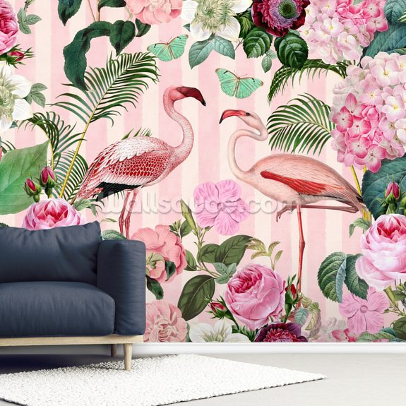 Flamingo Rendezvous mural wallpaper room setting