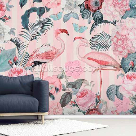 Pale Flamingo Rendezvous wall mural room setting