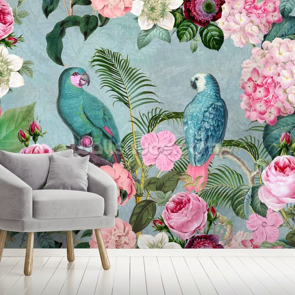 Jungle Rendevous mural wallpaper room setting