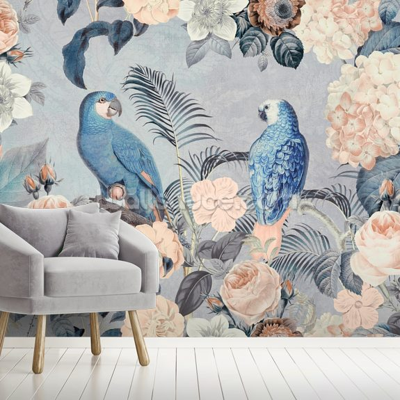 Parrots in Love wall mural room setting