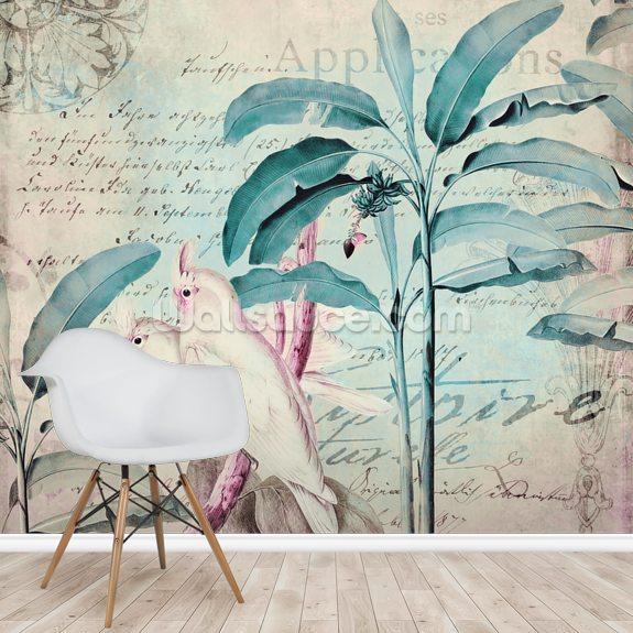 Cockatoos Pastel Paradise mural wallpaper room setting