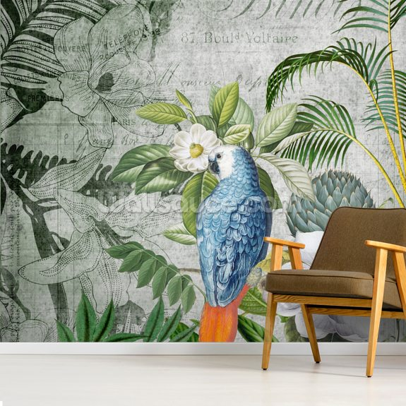 Wistful Parrot wallpaper mural room setting