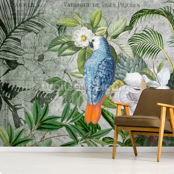 Jungle of Birds mural wallpaper room setting