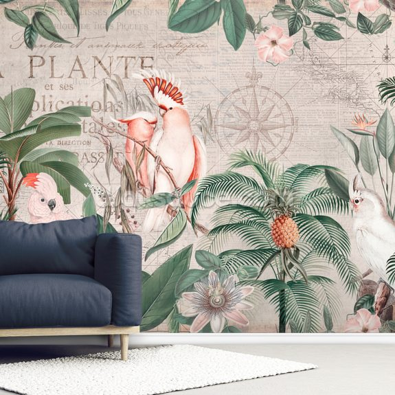 Vintage Cockatoo Jungle wall mural room setting