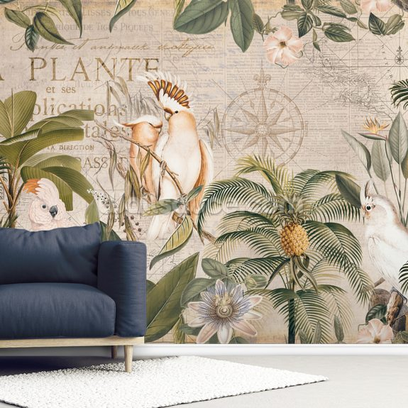 Wistful Cockatoo Jungle wallpaper mural room setting