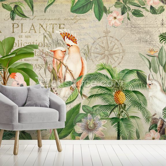 Nostalgic Cockatoo Jungle mural wallpaper room setting