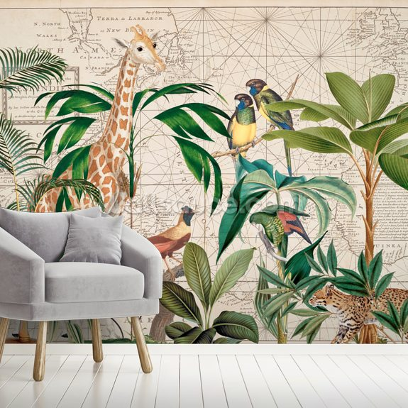 Palm Tree Map wall mural room setting