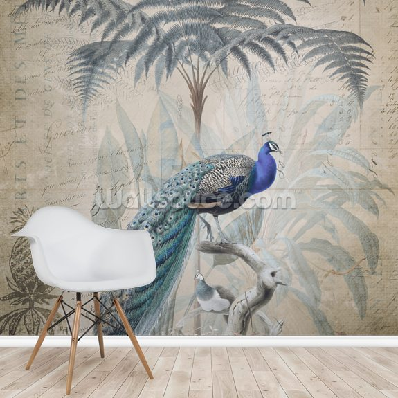 Peacock Jungle wall mural room setting