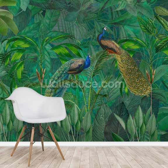 Peacock Paradise Jungle wallpaper mural room setting