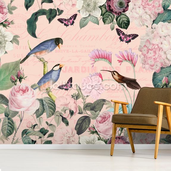Pink Bird Romance mural wallpaper room setting