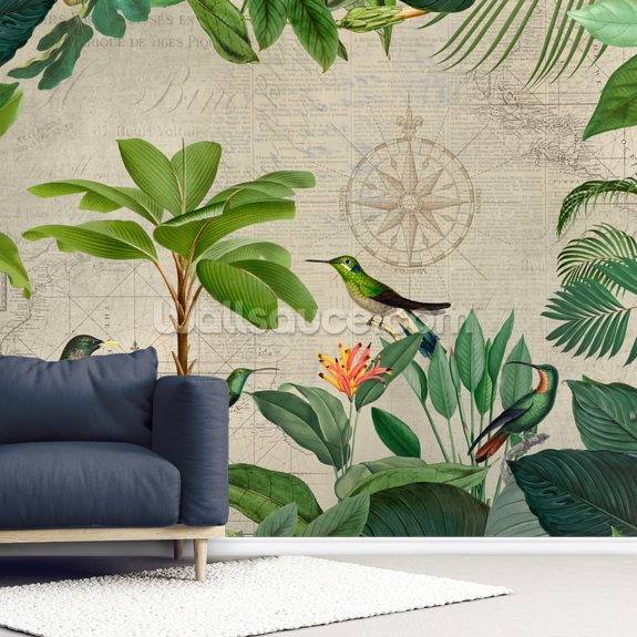 Tropical Journey Birds mural wallpaper room setting