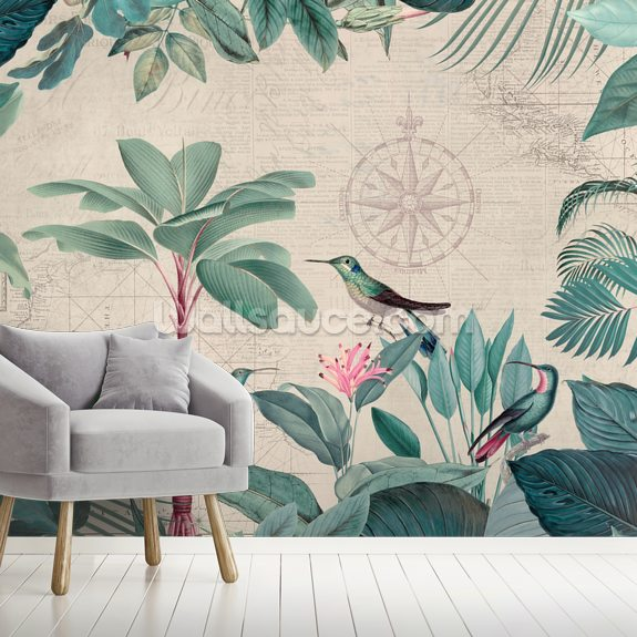 Pale Tropical Journey Birds wall mural room setting